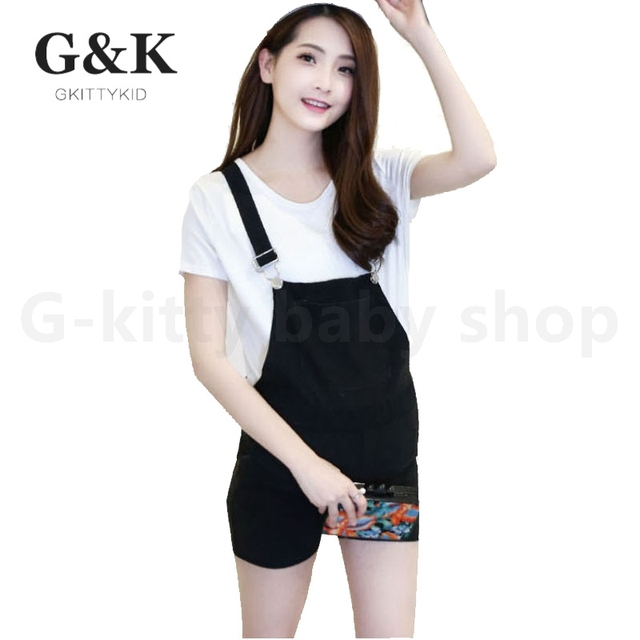 2016 summer new black denim suspenders pregnant maternity pregnancy clothes  for pregnant women
