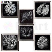 5d алмазов картина Полная площадь/круглый дрель черный, белый цвет Животные тигр лев кошка Алмазная вышивка картина крестом мозаика M501