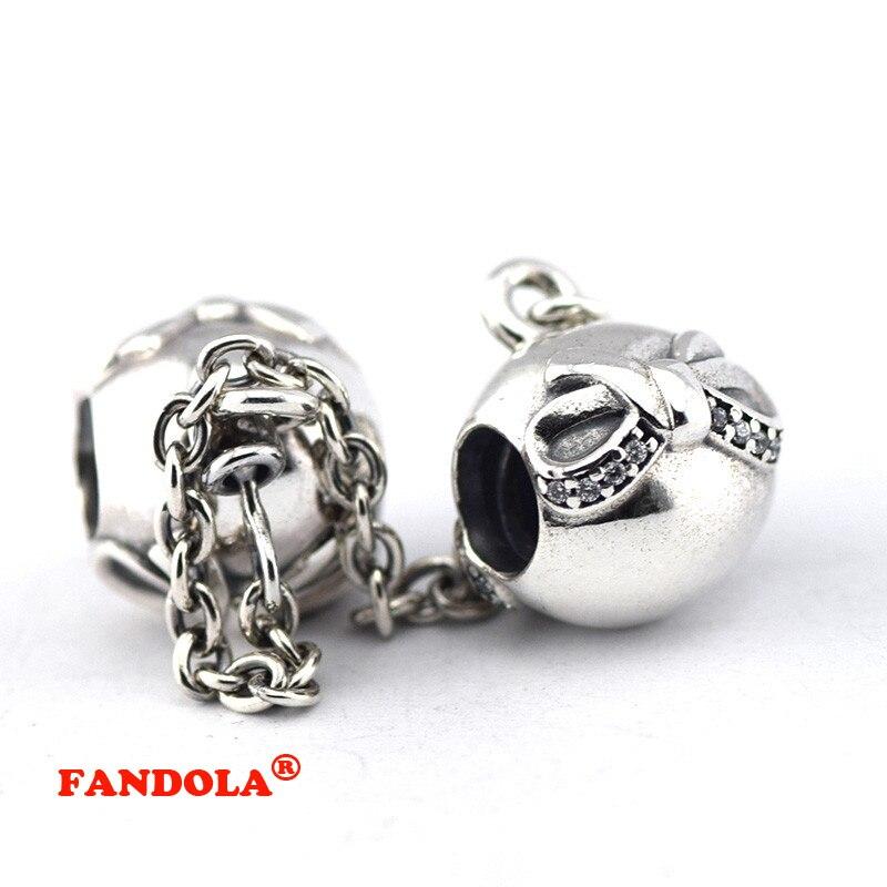 Подходит Pandora Талисманы Браслеты 100% стерлингов Серебряные ювелирные изделия Изящный бант безопасный цепь Бусины с четкими кубического цир...