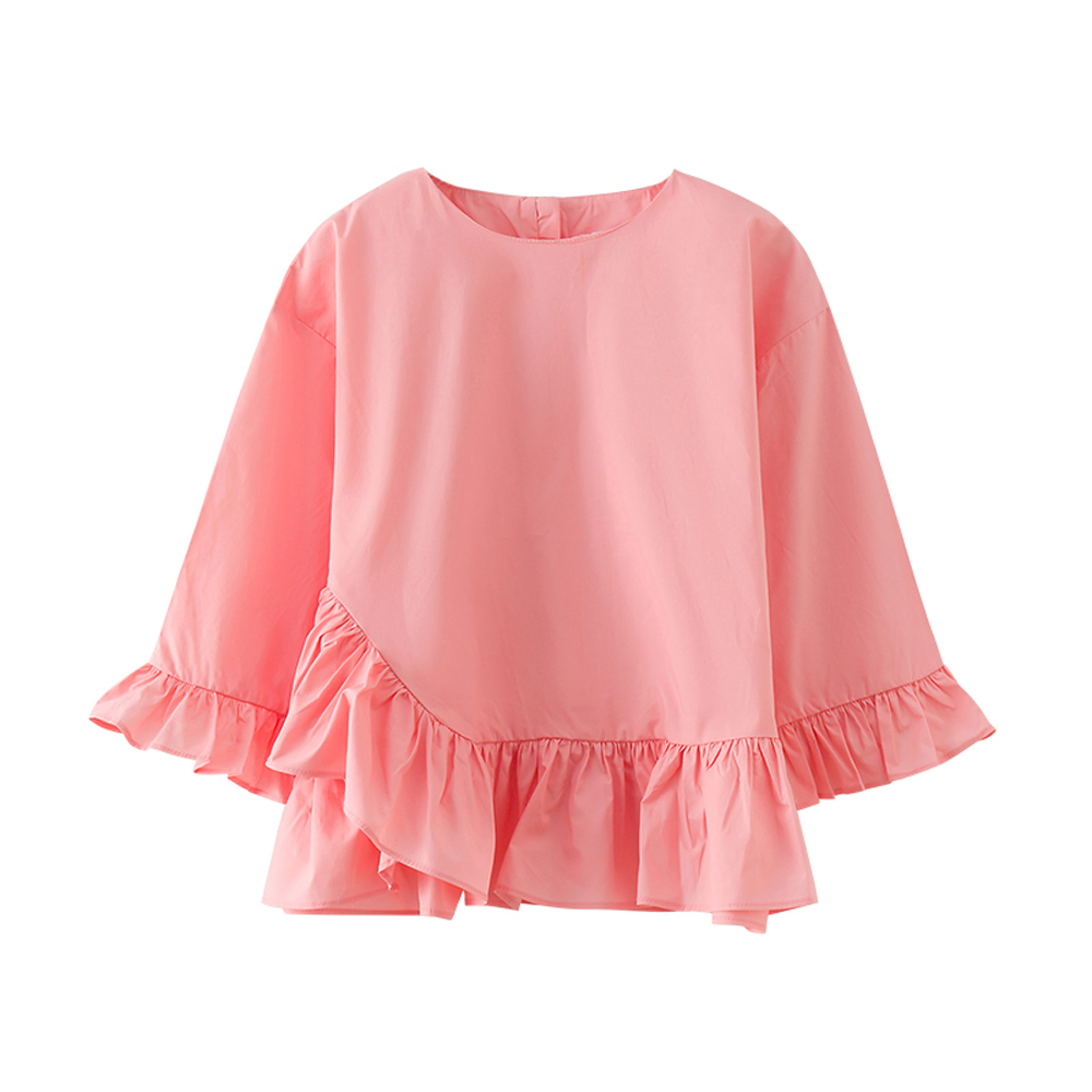 B-S101 Summer Top Girls T-Shirt 5-13T Vacation Solid Color Tees Spring Autumn Ruffled sleeves Long Sleeve Tshirt 95% Cotton