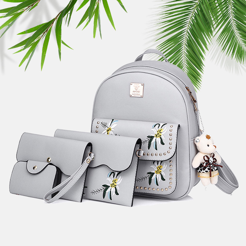 5Pcs/Set School Backpack Women School Bags For Teenage Girls Bear Pendant Embossing Backpack Female Bag Set For Student Moclila ...