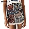 Berrygo estilo boho chic lápiz falda corta femenina de cintura alta faldas para mujer bottom vintage sexy mini falda 2017 playa de verano