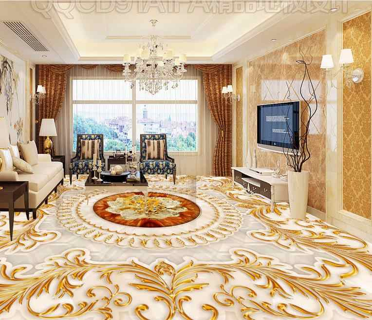 Honorable Luxury Need for gold 3d flooring 3d stereoscopic wallpaper Roses marble for bathrooms living room 3d floor wallpaper