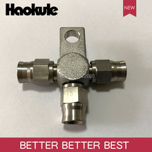 Haokule Stainless Steel 3Way 3AN/AN3 Tee Block With mount Tab/AN-3 3/8-24UNF Thread PTFE Brake TEFLON Hose End Fitting