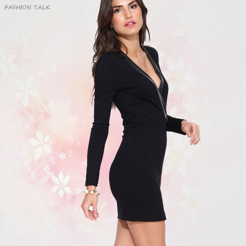 2015 New Celebrity Party Club Women Plus Size Short Black Dress Deep