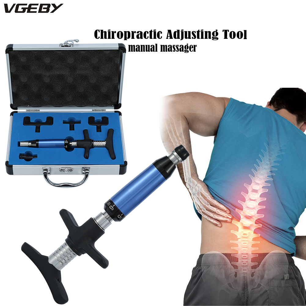 Manual Chiropractic Adjusting Tool Therapy Spine Activator Correction Massager 6 Levels 4 Heads Health Care Manual Gun Device manual chiropractic adjusting tool 6 levels 4 heads spine impulse back activator therapy backbone corrector instrument massager