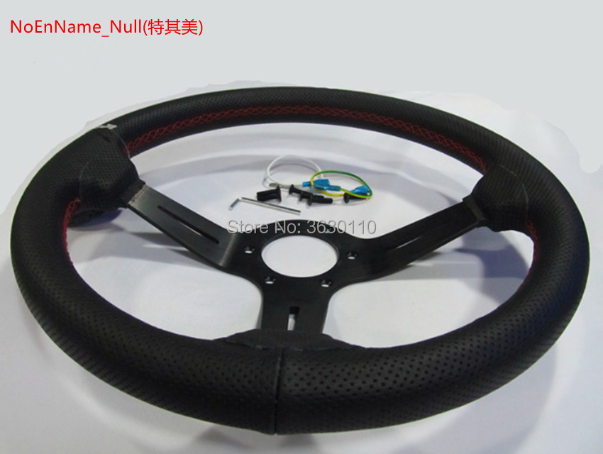 Horn button Universal 350mm Drift Red Stitches Black Carbon PVC Steering Wheel