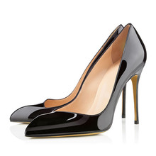 цена на 2018 New Fashion Lady Office Pumps Patent Leather Thin Heel High Heels Women Apricot Black Pointed Toe Shoes TL-A0086