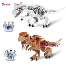 1/Set Jurassic World Tyrannosaurus Building Blocks Jurrassic Dinosaur action  house games  bricks toys for children
