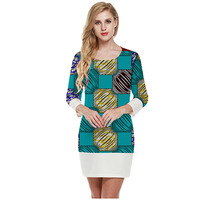 Fashion Women African Dress Long Sleeve Slim Fit Design Batik And White Fabric Patchwork Ladies Party