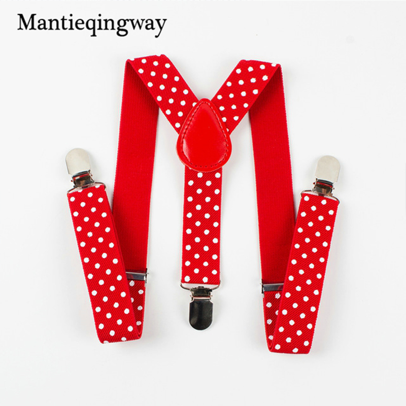 Mantieqingway Children Suits Polka Dots Suspenders 3 Clip Adjustable Shirts Kids Suspenders For Baby Boys Belt Strap Braces