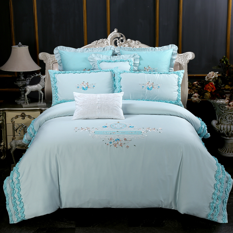 Luxury Egypt Cotton elegance dance Ruffles Bedding Set Embroidery Duvet cover Bed Sheet Pillowcases Queen King size 4/6/7PcsLuxury Egypt Cotton elegance dance Ruffles Bedding Set Embroidery Duvet cover Bed Sheet Pillowcases Queen King size 4/6/7Pcs