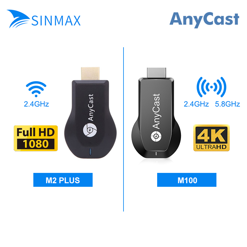 AnyCast M100 Switchless Dual Core Puce Sans Fil Affichage dongle tv 5 Ghz 4 K HD Sortie tv stick VS AnyCast M2plus cromecast dvb-t2