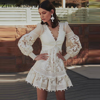 77abdb42f0bf7ff Ziwwshaoyu Sexy Hollow Out Mini Dresses Embroidery V Neck Puff Sleeve  Cotton Linen Vacation Dress Spring