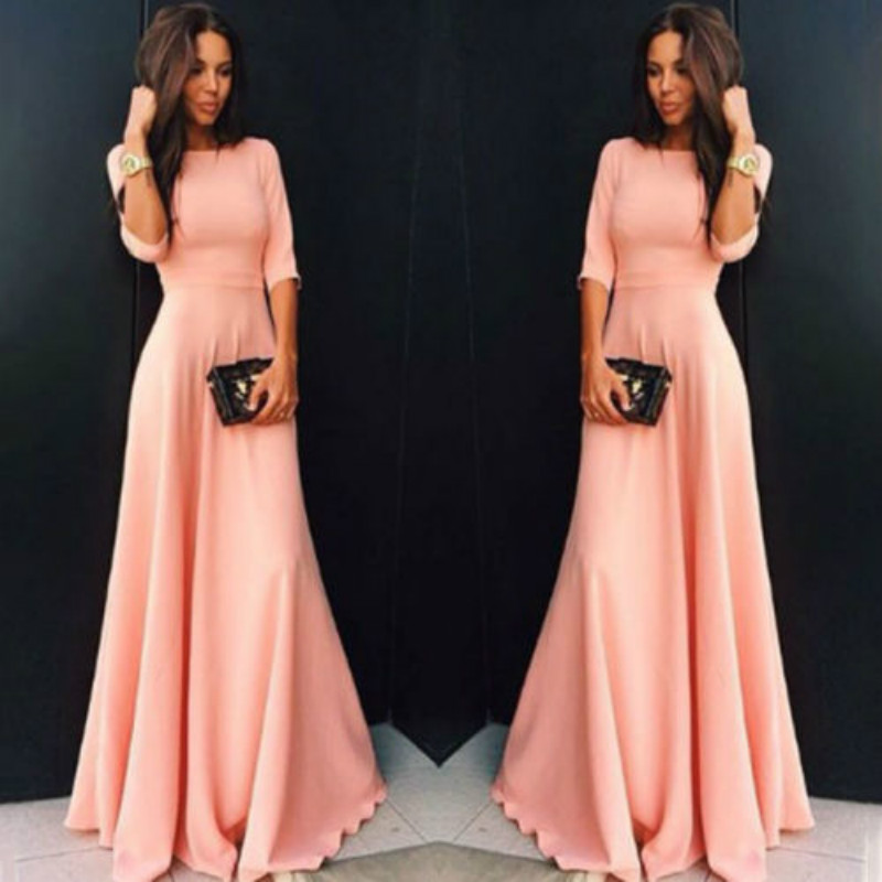 Womens Long Chiffon Long Sleeve Evening Formal Party Prom Ball Gown Maxi Dress Women Long Sleeve Dress Pink Black Blue Dresses Aliexpress