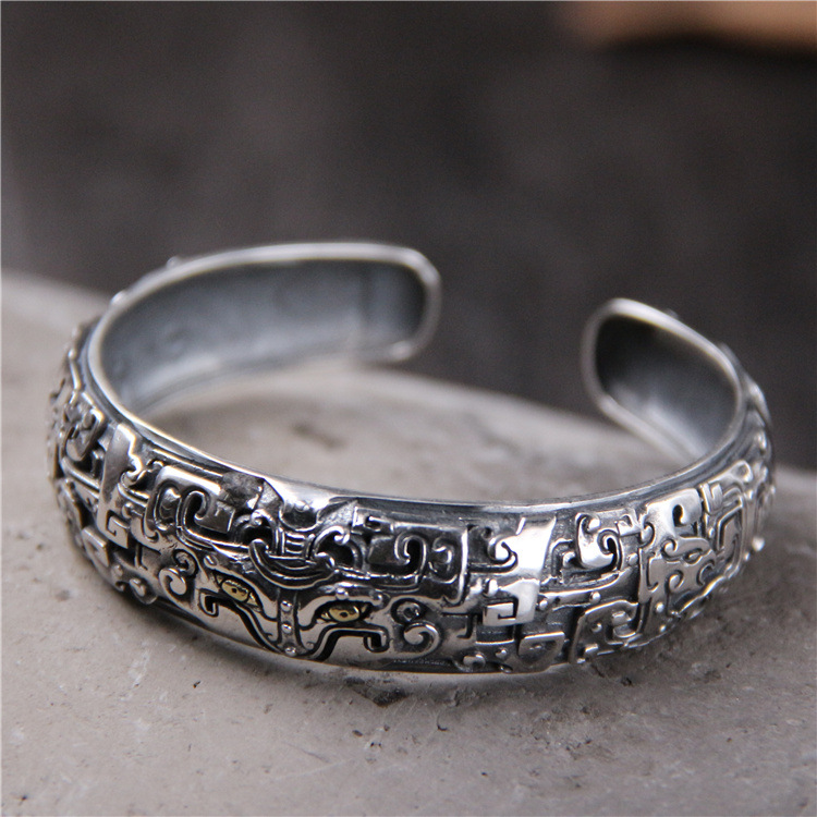 S925 Sterling Silver Retro Thai Silver Embossed Men And Women Personality Fashion Punk Style Open Ended BangleS925 Sterling Silver Retro Thai Silver Embossed Men And Women Personality Fashion Punk Style Open Ended Bangle