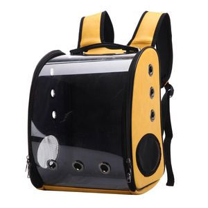 Breathable Cat Backpack Carrier Portable Traveler Handbag for Pet Small Dog with Space Transparent Vision Cushion-Mat