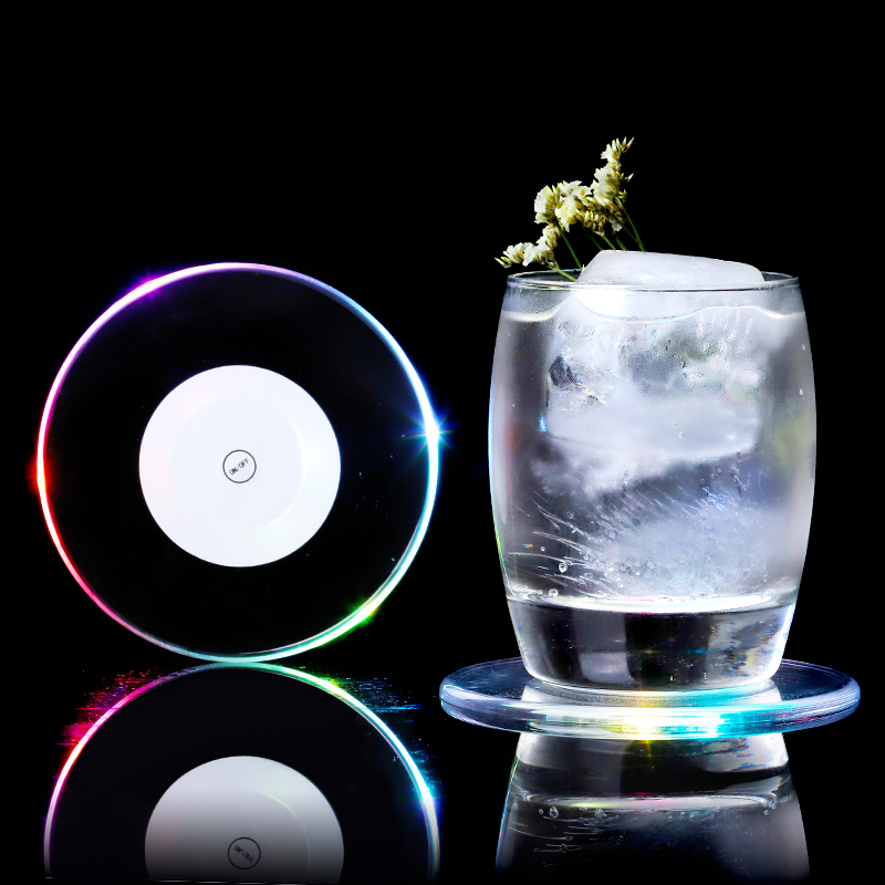 Creative Acrylic Twinkle Coasters Flash Led Light Cup Drink Mats Decorative Wedding Party Wine Glass Holder For Home Bar Decor