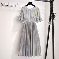 XL 5XL Plus Size Women Striped Chiffon Dress Summer 2019 Bohemia Cross Backless Short Sleeve Elastic Waist Elegant Pleated Dresses