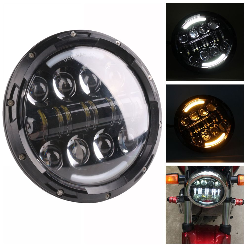 Black 7 Inch 80W Round Daymaker LED Projector Headlight Waterproof Bulb for Harley Davidson Motorcycle & Jeep Wrangler 2007-2015