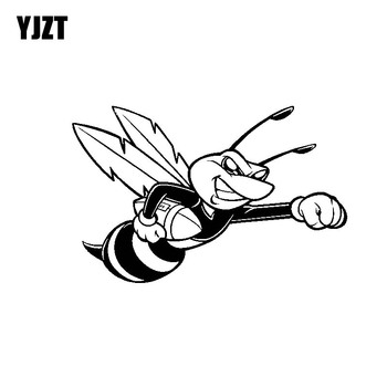 YJZT 15.2CM*9.7CM Delicate Beautiful Overbearing Bee Lovely Dazzling Vinyl Decal Car Sticker Black/Silver C19-1490 image