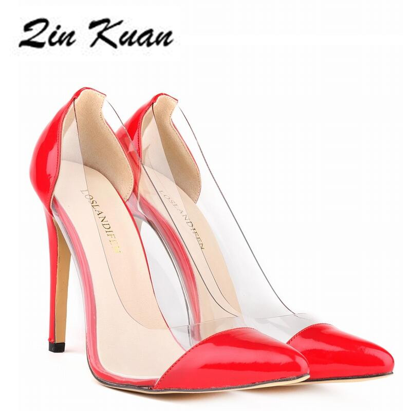 High-Heel Shoes Evening Pumps Party Pointed-Toe Transparent Plus-Size Fashion Women Ladies