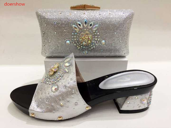 doershow Italy Shoe and Bag Women High Quality Italian Shoe and Bag Set Decorated with Rhinestone African Wedding KH1-15