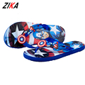 ZiKa 2017 Soft Sole Beach Sandals Big Boys Captain America Flip-Flops For Summer Big Children Flip Flops Beach Wear 7-12 Years