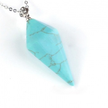New Natural Gem Hexagon Pyramid Reiki Pendulum Stone Choker Female Pendant Necklace Charms Healing Chakra Amulet Jewelry Gift in Pendant Necklaces from Jewelry Accessories