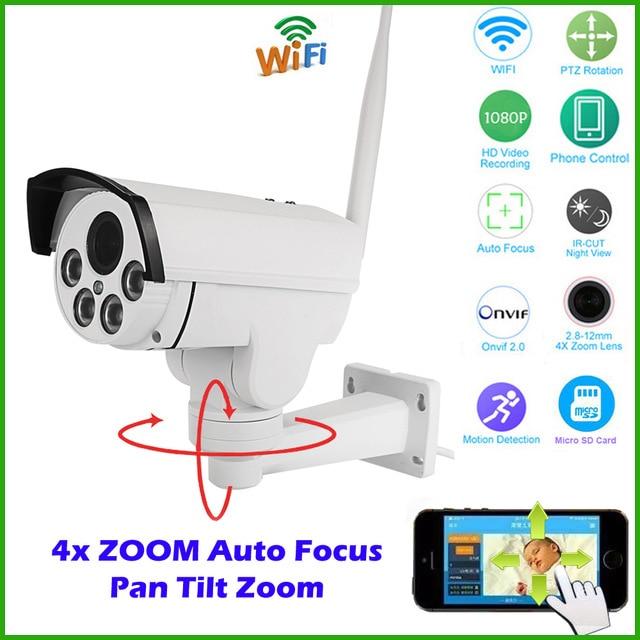 Hi3516c + sony imx222 hd 1080 p 4x zoom 2mp rede wi-fi sem fio Auto PTZ IP Câmera Ao Ar Livre Bala IR À Prova D' Água Onvif SD cartão
