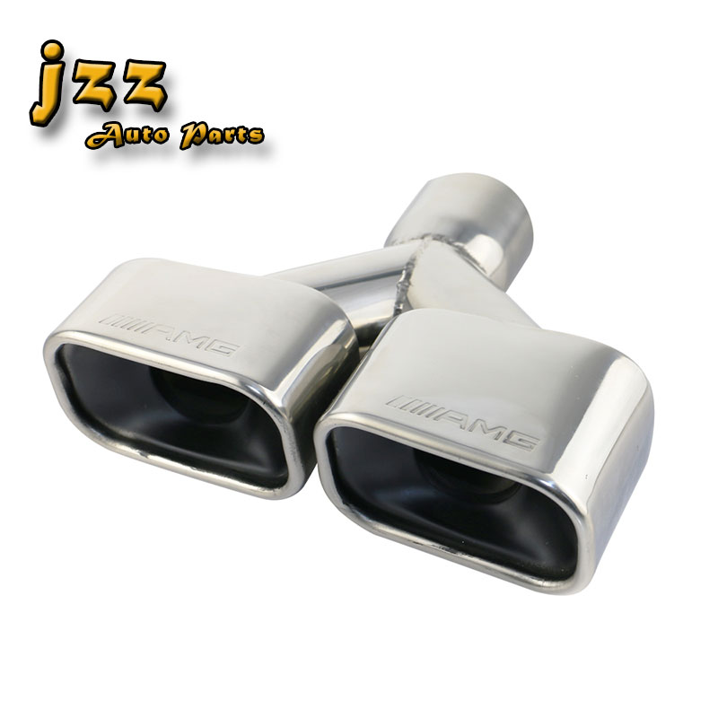 JZZ universal engraved AMG 1PC 2 5 square Dual exhaust pipe high quality Stainless Steel car