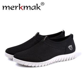 35ededbf Merkmak 2019 zapatos de hombre de moda de verano de malla transpirable  hombres zapatos casuales zapatos planos de alta calidad para hombres  zapatillas ...