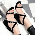 AIWEIYi 2017 Летняя Мода Сандалии Из Натуральной Кожи Крест Ремень Открытым Носком На Высоком Каблуке Сандалии Платформы Насосы Zapatos Mujer