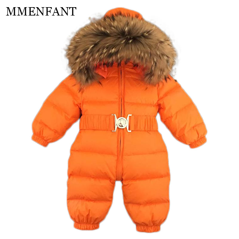 New 2017 winter Christmas baby rompers clothes newborn down jackets Raccoon fur collar boys and girls jumpsuit overall clothing new winter baby hat real fur pom pom knitted toddler kid thick warm double raccoon fur balls beanies boys girls bonnet gorros f3