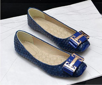 Big Love Decorative Metal Buckle Snakeskin Square Flat Shoes Women Shoes Free Shipping Plus Size 35