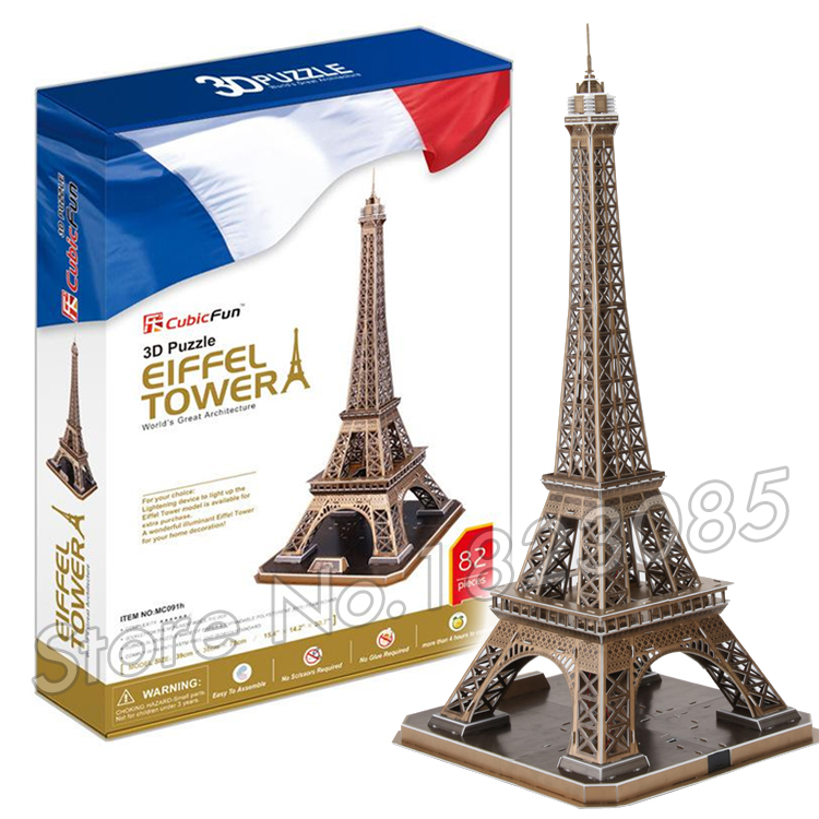 82PCS Eiffel Tower 2016 font b New b font 3D Puzzle DIY Jigsaw Assembly Model Building