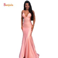 V Neck Mermaid Pink Prom Dresses Simple Long Evening Party 2019 Back Criss-Cross Sexy Night Gowns ballkleider D454