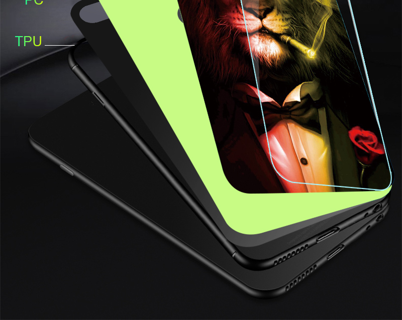 Luminous Case For iPhone X XS MAX Case For iPhone 7 6 s 8 Plus X 10 Luxury PC+Tempered Glass Pattern Silicone Edge Cover (15)