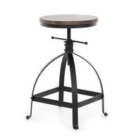 iKayaa Industrial Style Adjustable Height Swivel Kitchen Dining Breakfast Chair Natural Pinewood Top Bar Stool