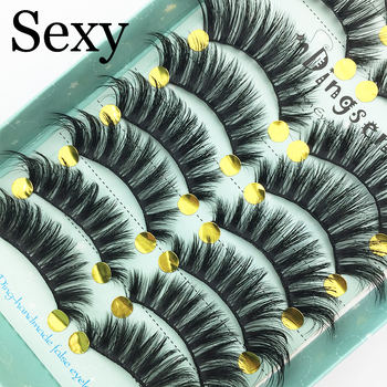 10 Pairs Handmade 3D Soft Faux Mink Hair False Eyelashes Crisscross Wispy Fluffy Lashes Extension Eye Makeup Tools #3D-108