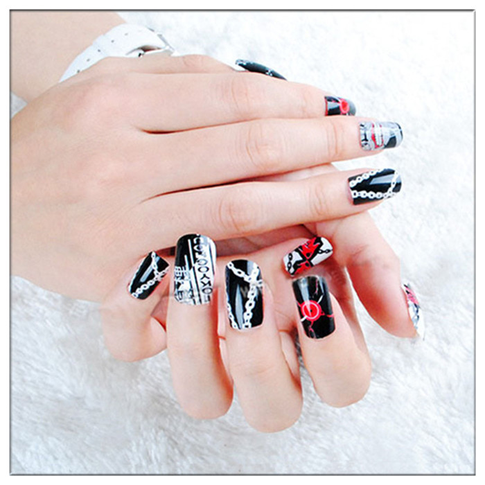Aliexpress 24 Pcs Set Anime Tokyo Ghoul Cosplay Nail Sticker Fake Fingernails False Nails Art Salon Makeup Gift Free From Reliable