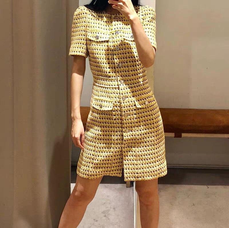2019 primavera y verano nuevo vestido de mujer de manga corta con cuello redondo-in Vestidos from Ropa de mujer    1