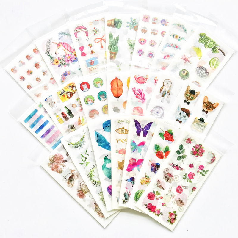 1 Pack Kawaii Unicorn Cat Cactus Flower Washi Stickers DIY Stick Label PVC Phone Hand Account Decor Sticker Stationery Kids Gift
