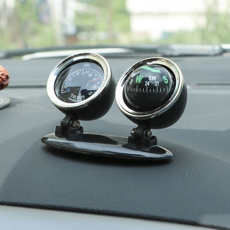 LC30 Car Accessories Compass Thermometer Two In One Guide Ball Decoration Accessories Car Guide Ball
