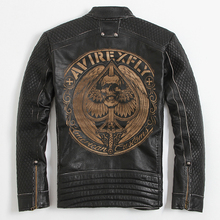 Vintage Black Skull Embroidered Leather Jacket