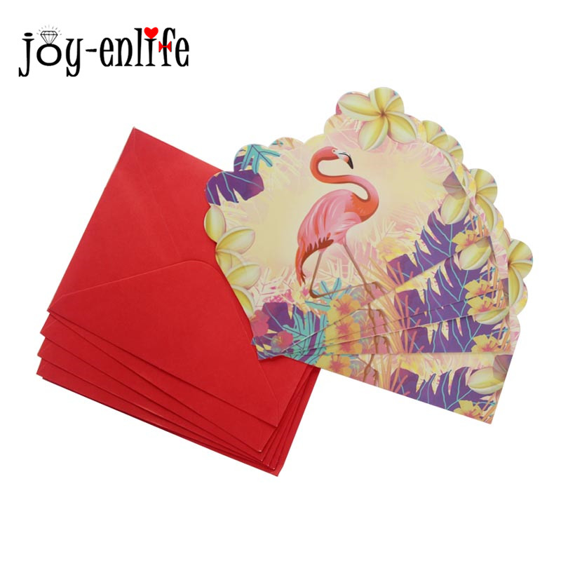 JOY-ENLIFE 6pcs Birthday Party Invitations Flamingo Cards Kids Birthday Party Decorations Summer Pool Flamingo Party Supplies