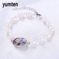 100% Zoetwaterparels Armband Natuurlijke Mode-sieraden Strand Armbanden Vrouwen Real Rijst Vorm Ovale Parel vrouwen Accessoires B006