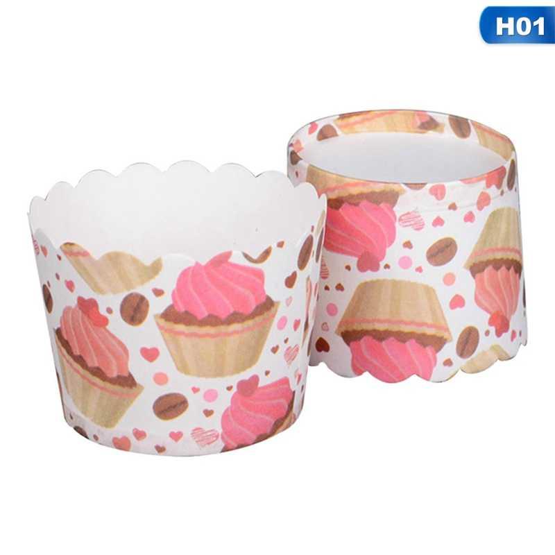 50 pçs/lote Pequeno Ciclone de Alta Temperatura de Cozimento Do Bolo Do Copo de Papel Copo de Papel de Muffin Copo Engrossar Cozinha Queque Stencil Padarias