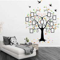 SK2010W Light Switch Stickers New Chic Black Family Tree Photo Frame Bird Flower Heart Shaped Wall
