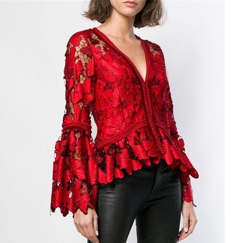 Femmes Dentelle Shirts Mince 2019 Lady Nouveau Évider Mode V Printemps Red Manches Blouse Rouge Oceanlove Flare cou Plissée Tops Sexy 10626 xtUgqI